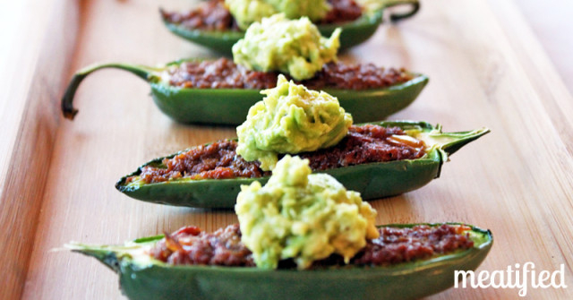 Chili Pepper Poppers with Smashed Avocado from http://meatified.com #paleo #whole30 #glutenfree