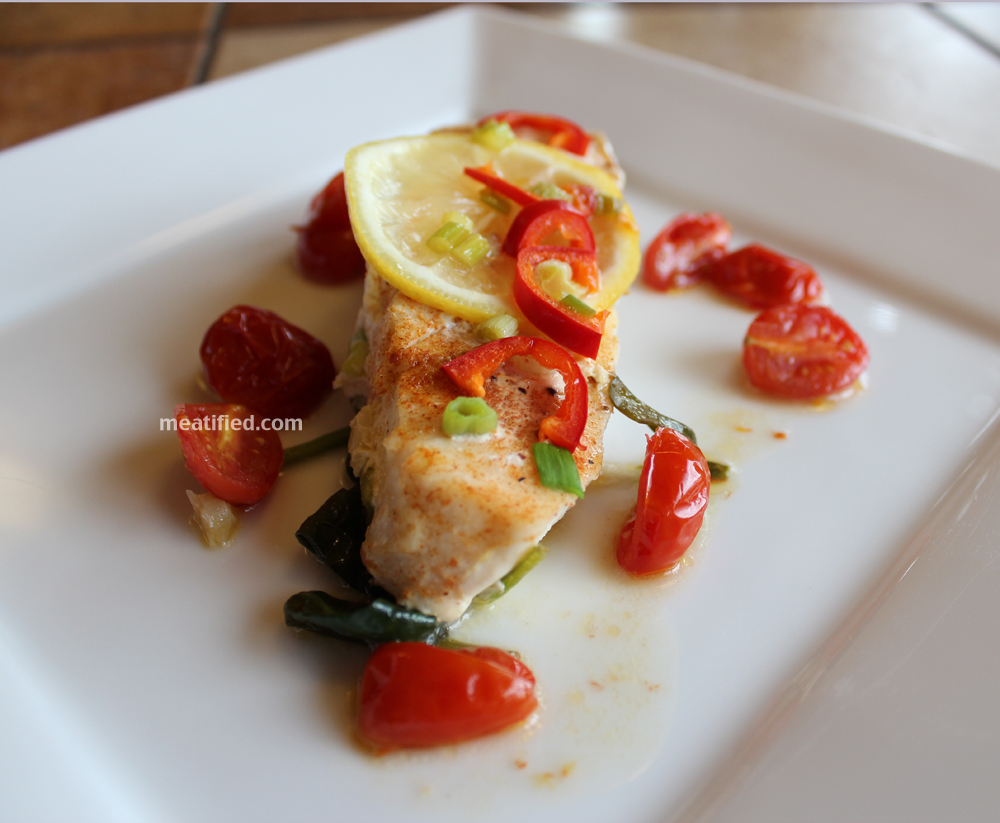 Baked Halibut with Lemon & Thai Chili