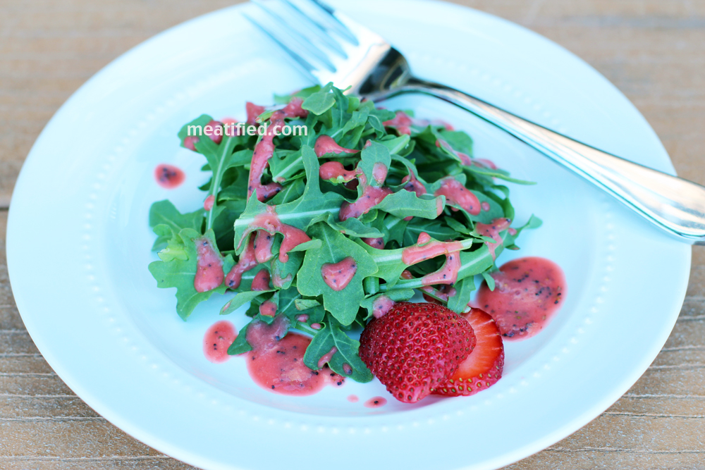 Arugula with Strawberry Rosemary Dressing