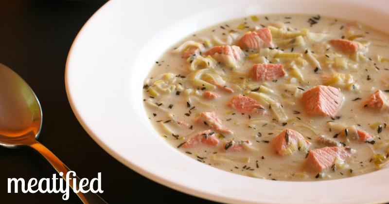 Creamy Leek Amp Salmon Soup Meatified