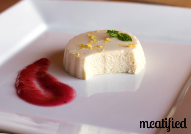 Paleo White Chocolate Mousse with Lemon Zest and Cranberry-Apple Compote from http://meatified.com #paleo #dairyfree #gelatin
