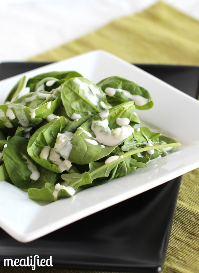 Salad topped with Green Onion Dressing from http://meatified.com - no dairy, no hassle and #whole30 compliant!