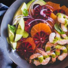 Winter Citrus Salad with Shrimp, Avocado & Lemon Basil Vinaigrette