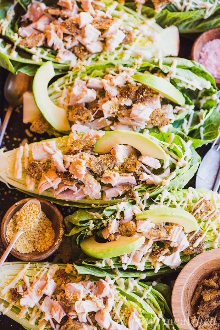 This Chicken & Avocado Caesar Salad from https://meatified.com has all of the flavor, but none of the egg or dairy from the classic recipe, making it perfect for the AIP. As a bonus, it's coconut free, too!