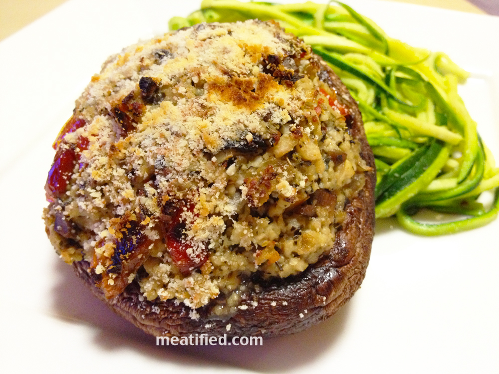 Roasted Pepper Stuffed Mushrooms