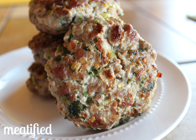 Cilantro & Green Onion Pork Burgers from http://meatified.com #paleo #whole30 #breakfast #burger