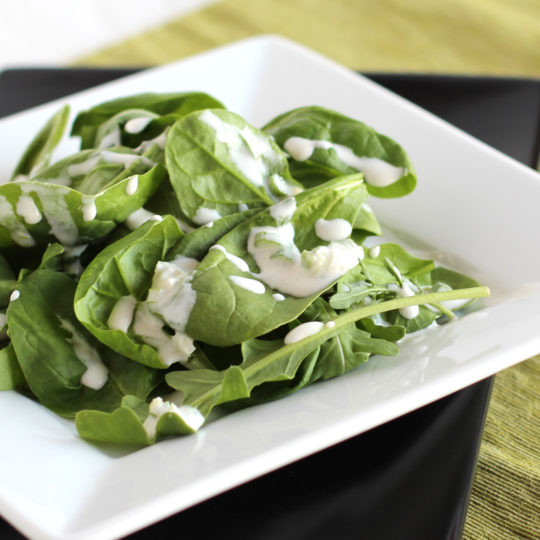Salad topped with Green Onion Dressing from http://meatified.com
