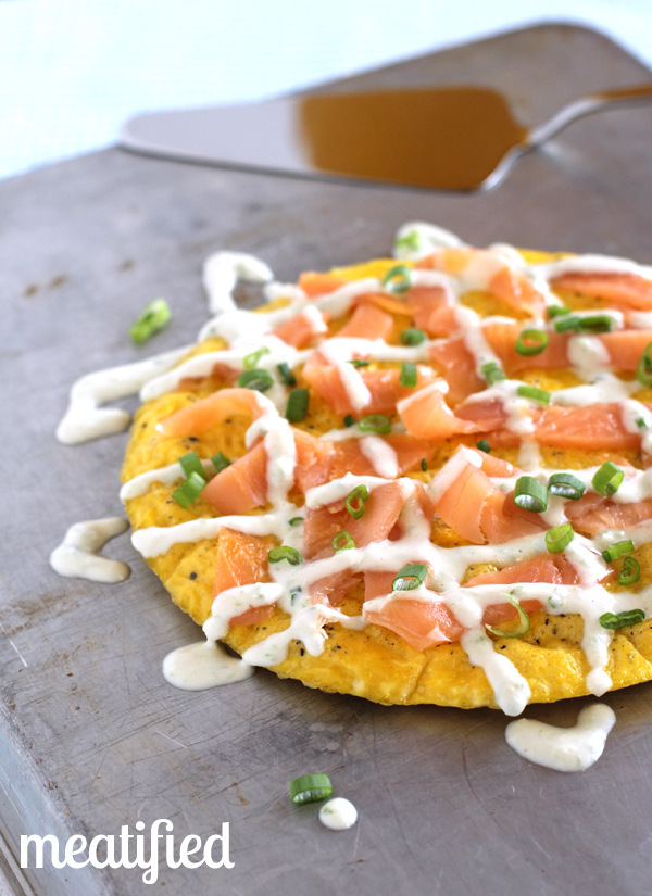 Smoked Salmon Frittata topped with Green Onion Sauce from http://meatified.com #paleo #whole30 #lox #smokedsalmon