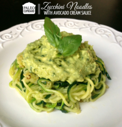 Avocado Cream Sauce over Zucchini Noodles