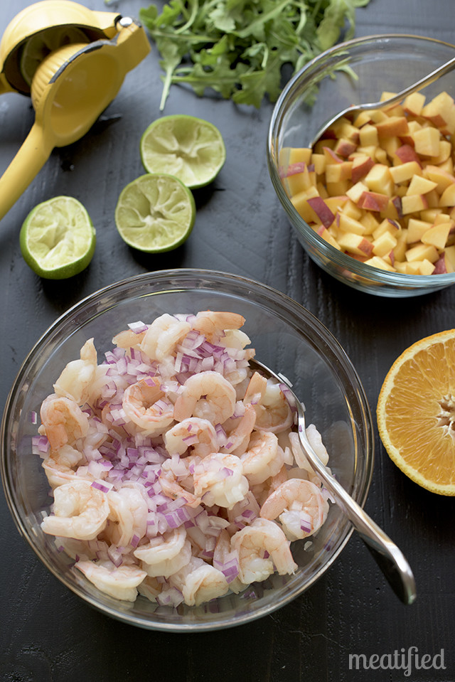 Shrimp Ceviche with Peach and Arugula {AIP, Whole30 & Paleo} from http://meatified.com