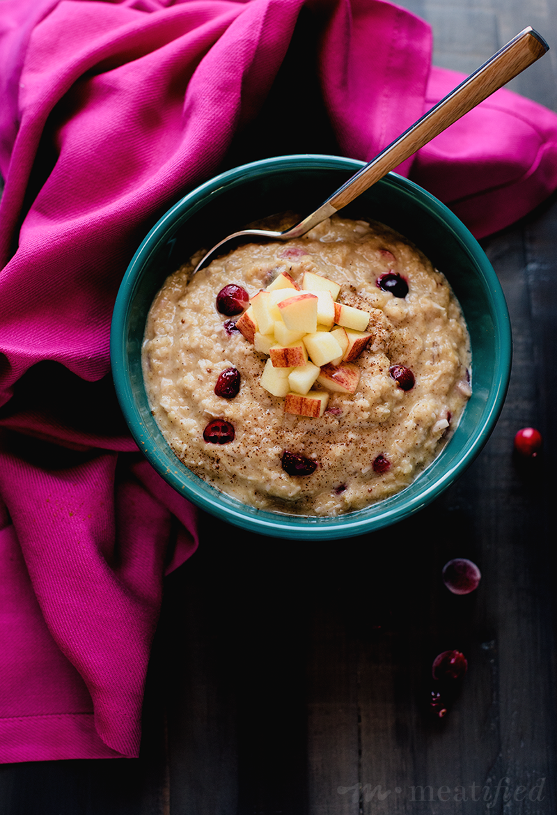 Apple & Cranberry Paleo Oatmeal from http://meatified.com. This grain free recipe is perfect for the holiday season and packs an extra serving of vegetables into your day! Gluten, grain & dairy free, and AIP friendly.