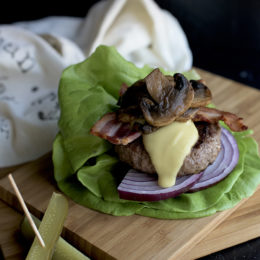 Bacon Mushroom Dairy Free Cheeseburgers from http://meatified.