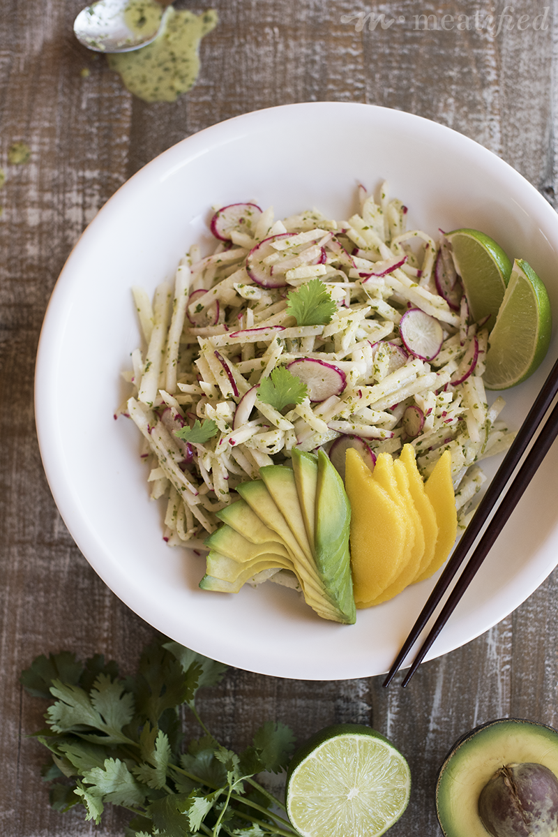 This Jicama Radish Slaw from http://meatified.com is the perfect, allergy friendly alternative to the usual glooby, dairy-heavy coleslaw. It's light, tangy & perfect for summer!