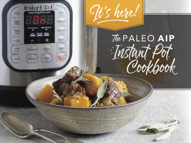 """The Paleo AIP Instant Pot Cookbook is the answer to all of your """"I need something AIP AND delicious to eat, as soon as possible!"""" situations. Brought to you by your favorite 37 AIP bloggers, it's packed with over 140 recipes including broths, sauces, condiments, vegetables, poultry, meat, seafood, offal, desserts, and more! Snag your copy today and start cooking your way through your new favorite recipes!"""