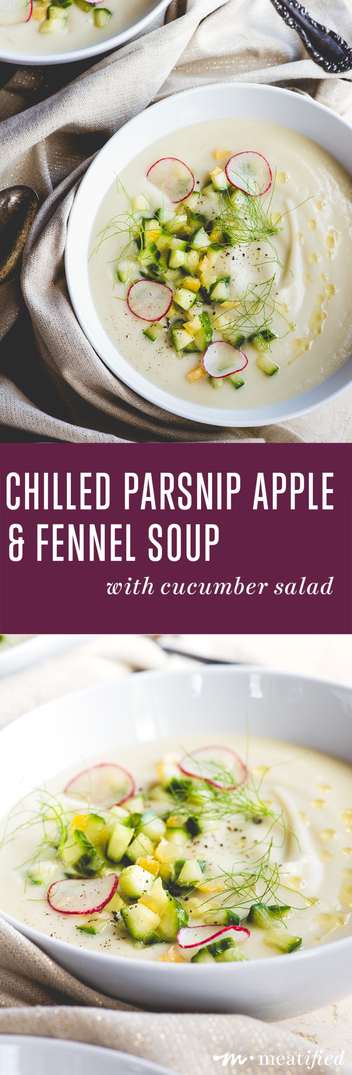 This Parsnip Apple & Fennel Soup from http://meatified.com is a season stretcher. It's creamy & comforting, but chilled & topped with cucumber salad, it's light & bright, too.