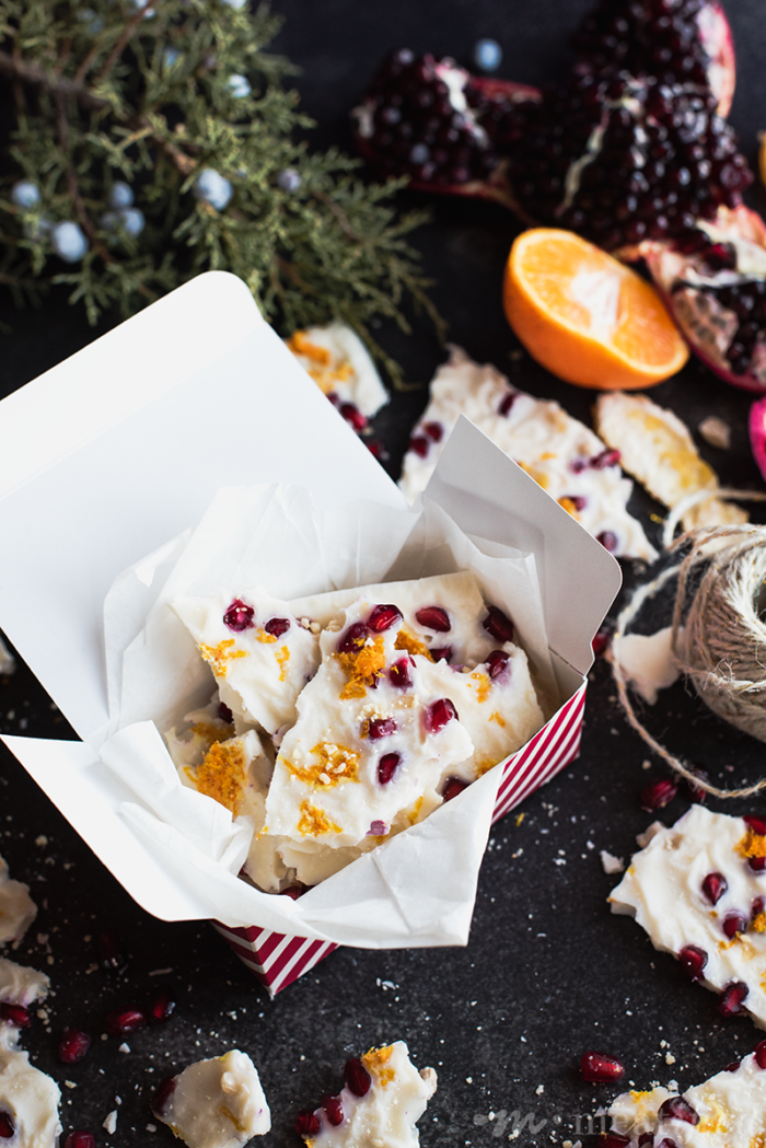 This festive pomegranate coconut butter bark from https://meatified.com is the perfect holiday treat, studded with ginger & orange zest. Keep it to yourself or give it as a gift!