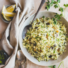 Sweet Potato Rice Pilaf with Lemon, Olives & Raisins
