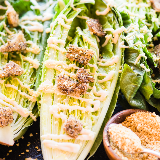 This Classic Eggless Caesar Salad from https://meatified.com has all of the flavor, but none of the egg or dairy, making it perfect for the AIP. As a bonus, it's coconut free, too!