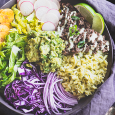 Loaded Burrito Bowls with Cilantro Sweet Potato Rice, Green Onion Guacamole & Yogurt Sauce