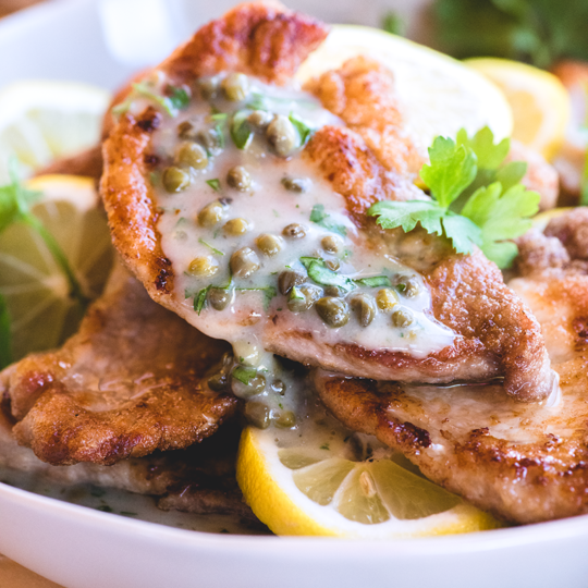 No chicken here! This gluten & grain free Pork Piccata from https://meatified.com swaps out the usual chicken for golden & tender pork paired with a light & bright lemon caper sauce.