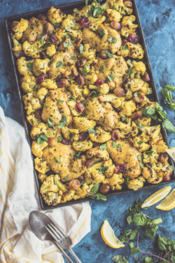 If you hate dishes and love weeknight meals with tons of flavor, this sheet pan spiced roast chicken from https://meatified.com is for you! The cauliflower is surprisingly addictive and the natural pop of sweetness from the roasted grapes may be your new favorite thing.