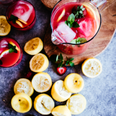 Summery Strawberry Rhubarb Pink Lemonade