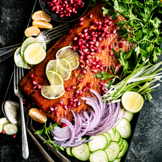 This simple pomegranate glazed salmon from https://meatified.com is quick to the table & a fun twist on typical weeknight baked salmon with its sweet-tart, ginger laced glaze.