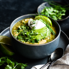 Chicken Salsa Verde Soup with Cauliflower Rice