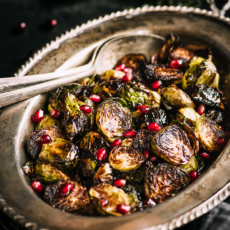 Caramelized Crispy Brussels Sprouts with Honey Pomegranate Glaze