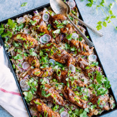 Sticky Sheet Pan BBQ Chicken with Roasted Slaw