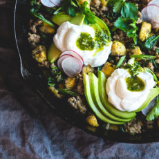 Breakfast Sausage Plantain Hash with Chimichurri Sauce