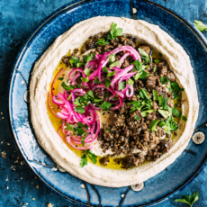 Beanless Hummus with Spiced Beef & Lemon Pickled Onions