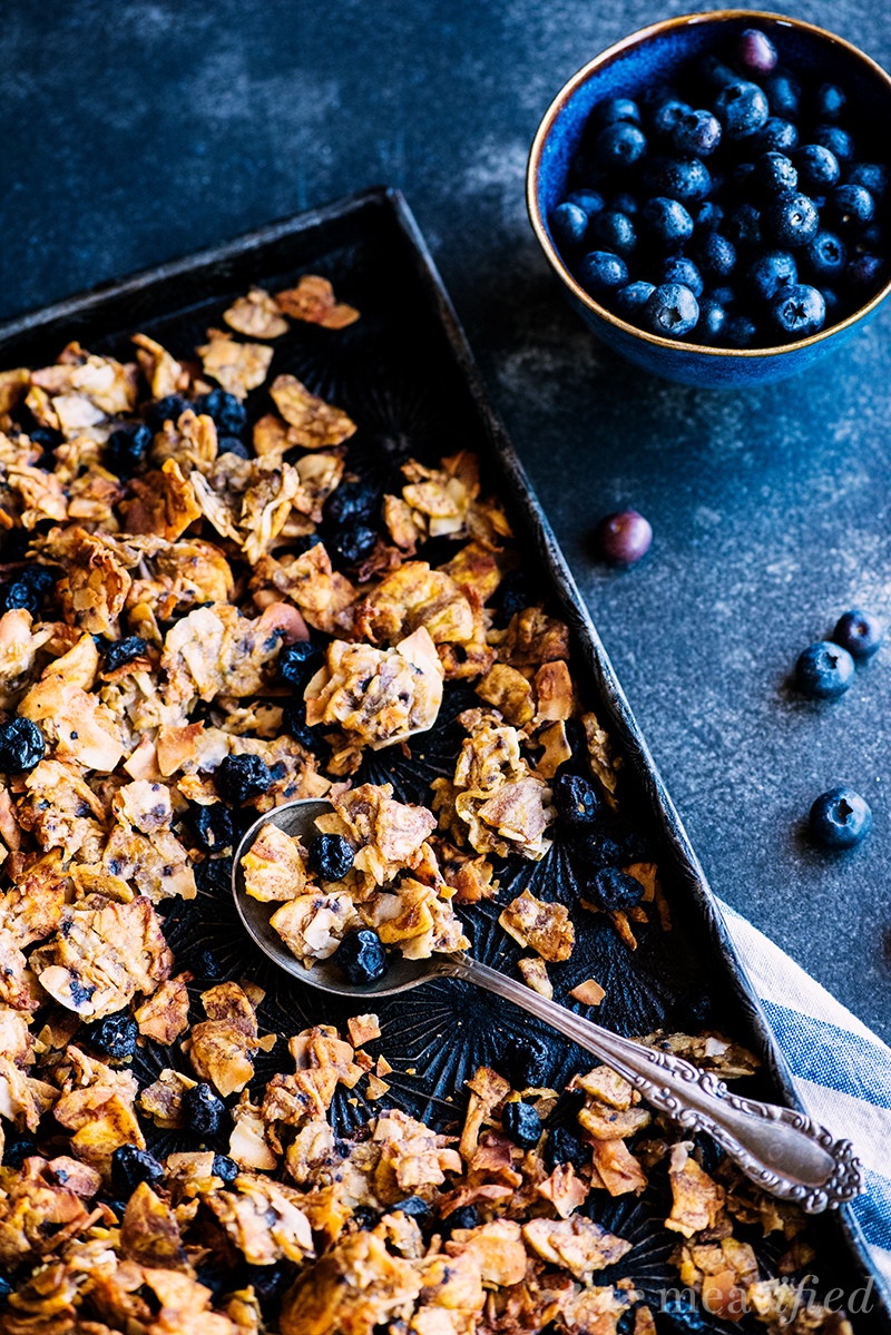 This blueberry granola from https://meatified.com is magical: it's totally grain, nut & seed free, but it still has the addictive combination of chewy & crunchy clusters you crave!
