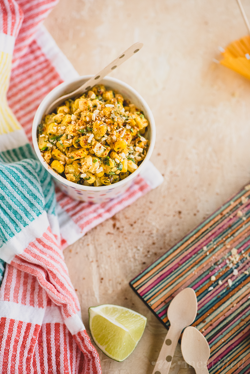 This take on Mexican street corn salad is made easily dairy free but with all the classic spicy, tangy & creamy flavors that make the dish so delicious!