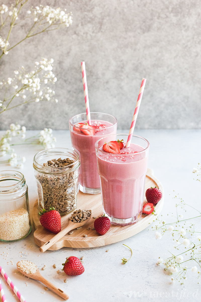 The easiest way to get your luteal seeds in! Just a handful of ingredients whip up into a delicious strawberry seed cycling smoothie that's dairy & nut free.
