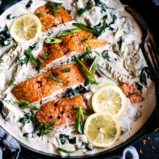 Saucy Spinach Artichoke Salmon