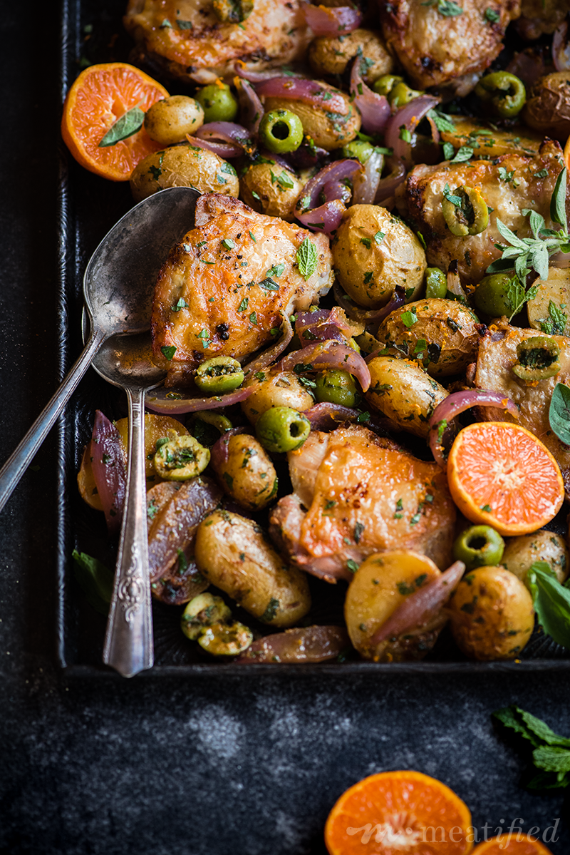 This roast sheet pan chicken has a simple trick for the crispiest skin without having to pan sear. It's a one dish wonder with zesty olive potatoes, too.