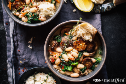 A handful of simple ingredients come together with creamy Italian white beans in this one pan, weeknight friendly & dairy free meal.
